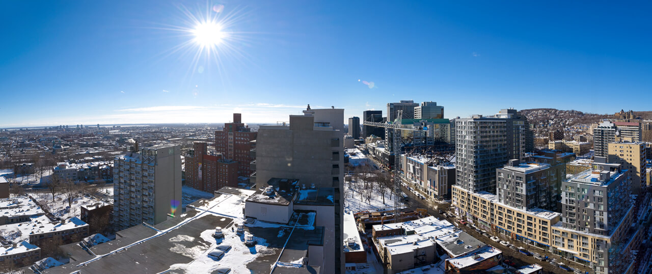 A beautiful view of Montreal from our rooftop.
